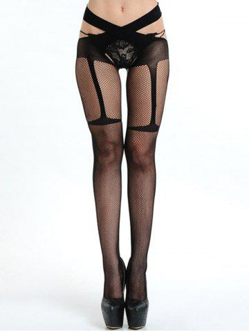 Mesh Criss Cross Fishnet Tights - Black - One Size
