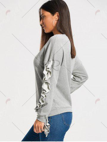 Sale Ruffles Embellished Drop Shoulder Sweatshirt - S GRAY Mobile