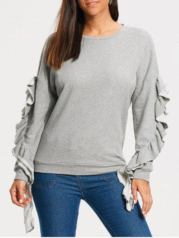 Best Ruffles Embellished Drop Shoulder Sweatshirt - M GRAY Mobile
