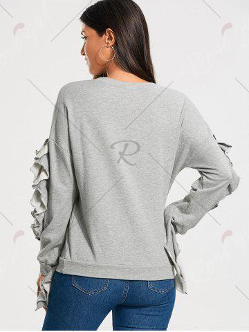 Latest Ruffles Embellished Drop Shoulder Sweatshirt - M GRAY Mobile