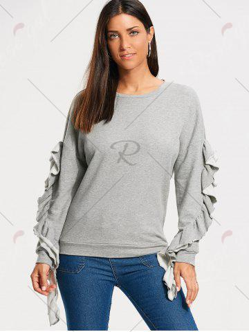 Cheap Ruffles Embellished Drop Shoulder Sweatshirt - M GRAY Mobile