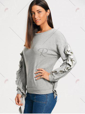 Sale Ruffles Embellished Drop Shoulder Sweatshirt - M GRAY Mobile