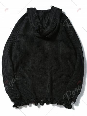 Sale Drawstring Hooded Ripped Knitted Sweater - XL BLACK Mobile