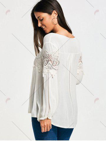 Hot Lace Panel Long Sleeve Smock Blouse - S WHITE Mobile