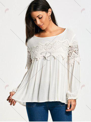 Trendy Lace Panel Long Sleeve Smock Blouse - S WHITE Mobile