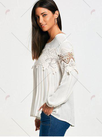 Hot Lace Panel Long Sleeve Smock Blouse - M WHITE Mobile