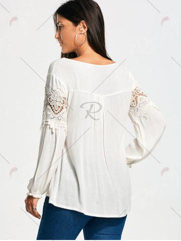 New Lace Panel Long Sleeve Smock Blouse - XL WHITE Mobile