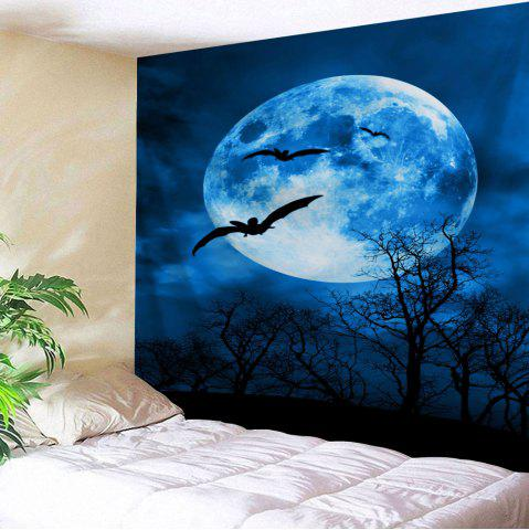 Moonnight Wall Art Decor Halloween Tapestry - Deep Blue - W91 Inch * L71 Inch