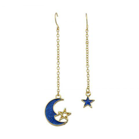 Latest Star Moon Pendant Fish Hook Earrings BLUE
