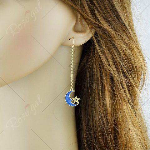 Affordable Star Moon Pendant Fish Hook Earrings - BLUE  Mobile