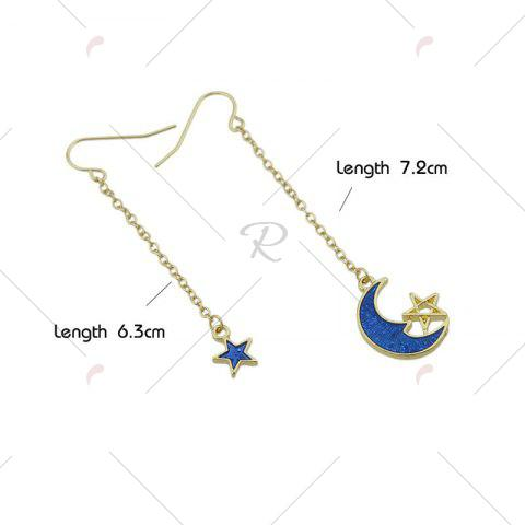 Best Star Moon Pendant Fish Hook Earrings - BLUE  Mobile