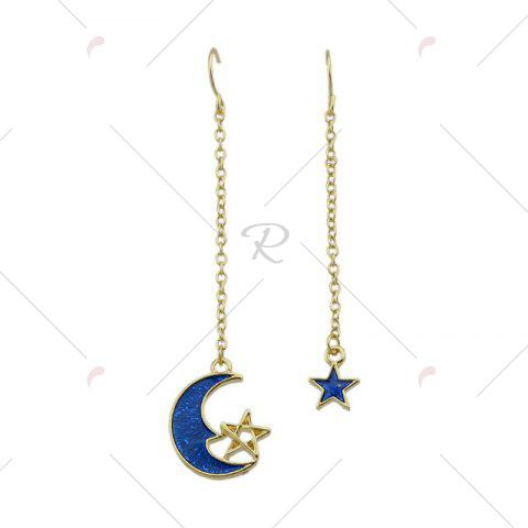 Fancy Star Moon Pendant Fish Hook Earrings - BLUE  Mobile