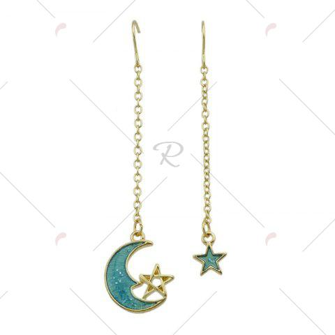 Cheap Star Moon Pendant Fish Hook Earrings - CLOUDY  Mobile