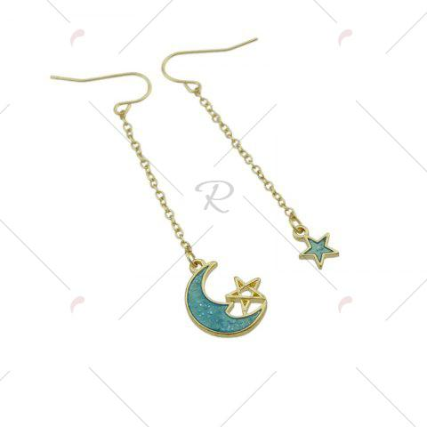 Sale Star Moon Pendant Fish Hook Earrings - CLOUDY  Mobile