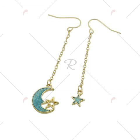 Best Star Moon Pendant Fish Hook Earrings - CLOUDY  Mobile