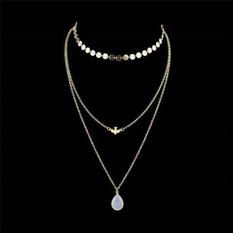 Cheap Teardrop Pendant Layered Necklace GOLDEN
