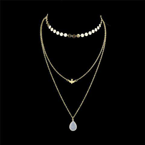 Chic Teardrop Pendant Layered Necklace - GOLDEN  Mobile