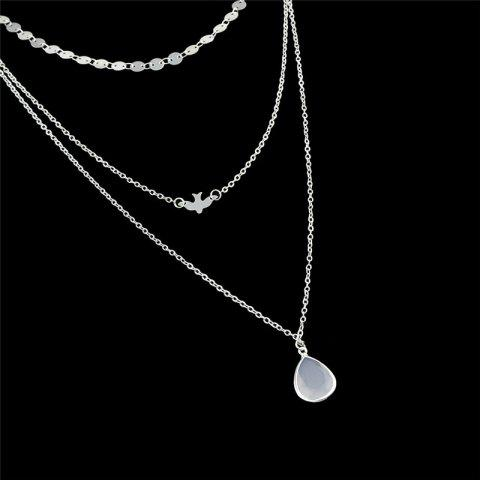Fashion Teardrop Pendant Layered Necklace - SILVER  Mobile