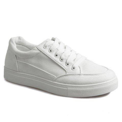 Online Casual Eyelet Stitching Canvas Shoes WHITE 37