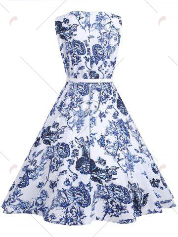 Fashion Vintage Floral Sleeveless A Line Dress - S FLORAL Mobile