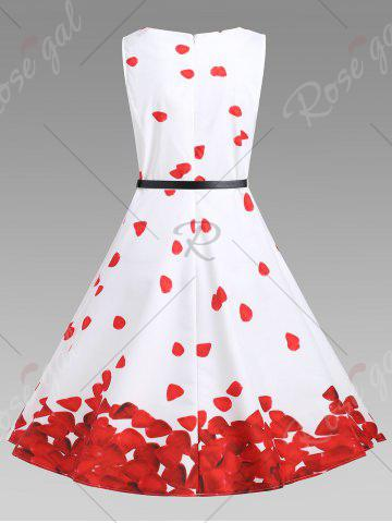 Discount Printed Vintage A Line Dress - M RED WITH WHITE Mobile