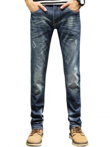 Zip Fly Straight Leg Faded Jeans Denim Bleu 32