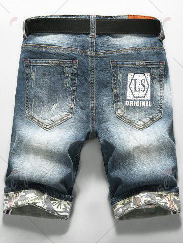 New LS Print Zip Fly Distressed Denim Shorts - 38 DENIM BLUE Mobile