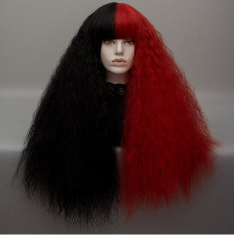 Long Neat Bang Two Tone Shaggy Curly Wave Lolita Cosplay Wig - Black And Red