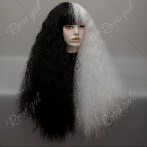 Shop Long Neat Bang Two Tone Shaggy Curly Wave Lolita Cosplay Wig - BLACK + WHITE  Mobile