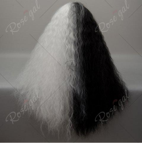 Best Long Neat Bang Two Tone Shaggy Curly Wave Lolita Cosplay Wig - BLACK + WHITE  Mobile