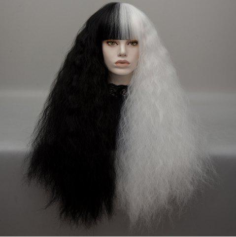 Trendy Long Neat Bang Two Tone Shaggy Curly Wave Lolita Cosplay Wig - BLACK + WHITE  Mobile