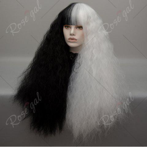 Unique Long Neat Bang Two Tone Shaggy Curly Wave Lolita Cosplay Wig - BLACK + WHITE  Mobile