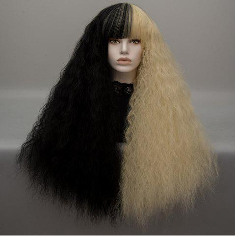 Long Neat Bang Two Tone Shaggy perruque de cosplay Lolita Wave Noir et Or