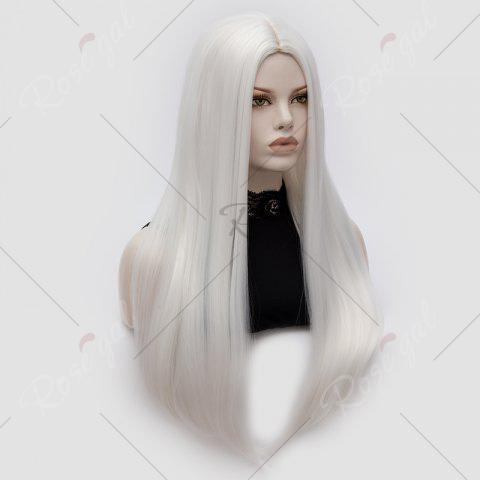 New Long Middle Part Tail Adduction Straight Cosplay Anime Wig - OFF-WHITE  Mobile