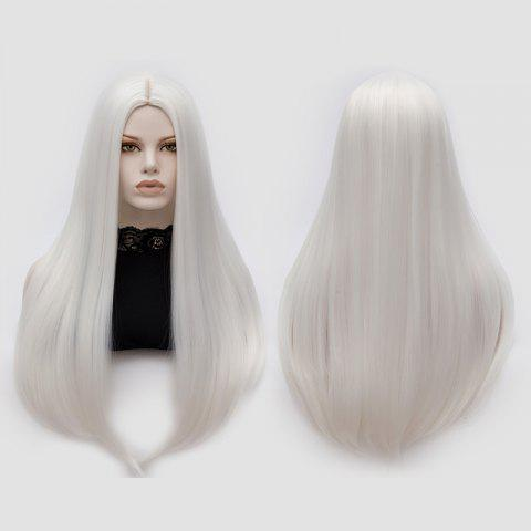 Latest Long Middle Part Tail Adduction Straight Cosplay Anime Wig - OFF-WHITE  Mobile