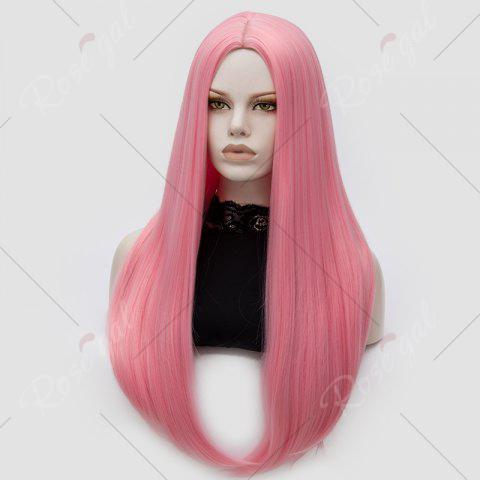 Hot Long Middle Part Tail Adduction Straight Cosplay Anime Wig - PINK  Mobile