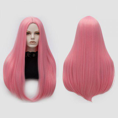 New Long Middle Part Tail Adduction Straight Cosplay Anime Wig - PINK  Mobile