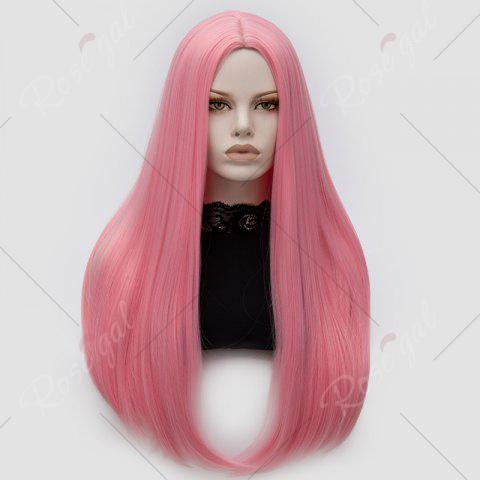 Trendy Long Middle Part Tail Adduction Straight Cosplay Anime Wig - PINK  Mobile