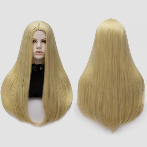 Longue partie moyenne Partie Adduction Straight Cosplay Anime Wig Or Clair