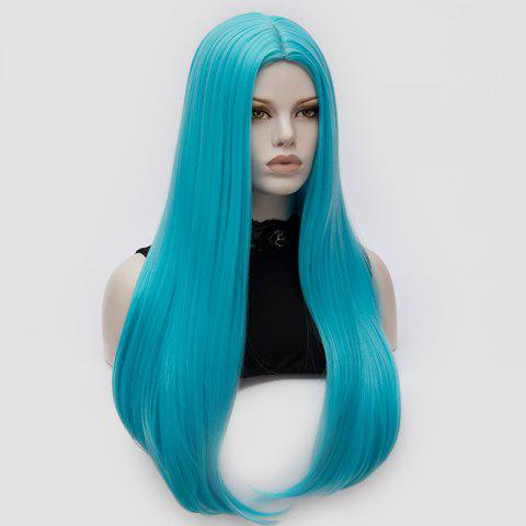 Discount Long Middle Part Tail Adduction Straight Cosplay Anime Wig - BLUE  Mobile