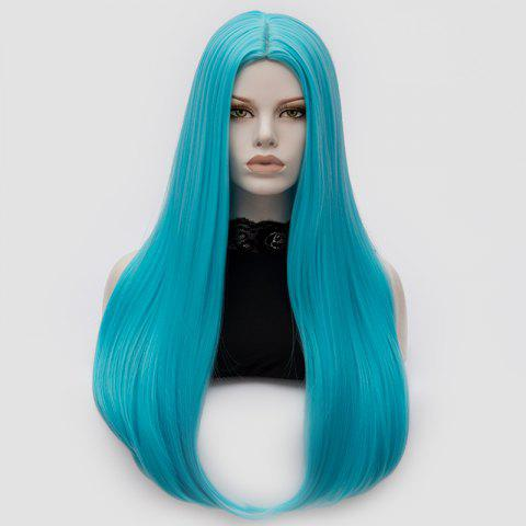 Chic Long Middle Part Tail Adduction Straight Cosplay Anime Wig - BLUE  Mobile