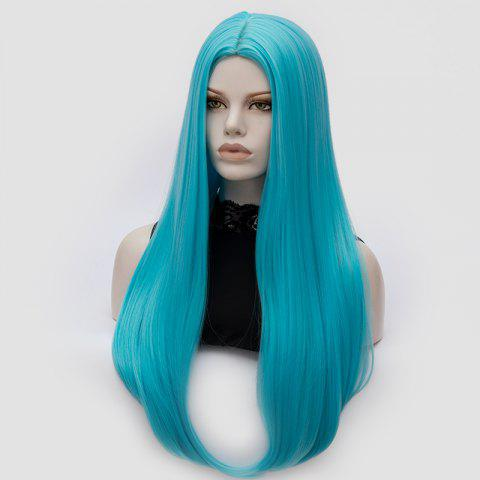 Outfits Long Middle Part Tail Adduction Straight Cosplay Anime Wig - BLUE  Mobile