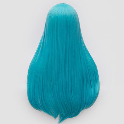 New Long Middle Part Tail Adduction Straight Cosplay Anime Wig - BLUE  Mobile