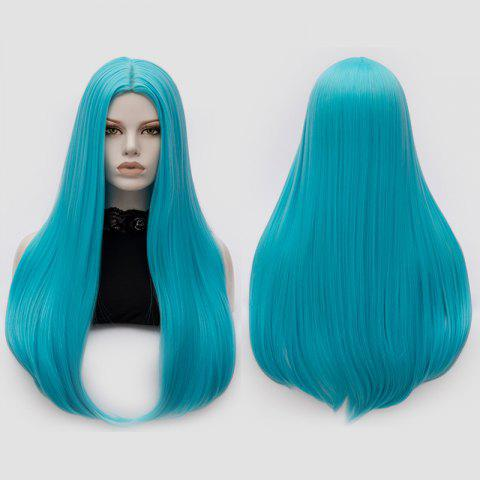 Hot Long Middle Part Tail Adduction Straight Cosplay Anime Wig - BLUE  Mobile