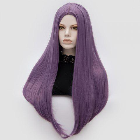 New Long Middle Part Tail Adduction Straight Cosplay Anime Wig - PURPLE  Mobile