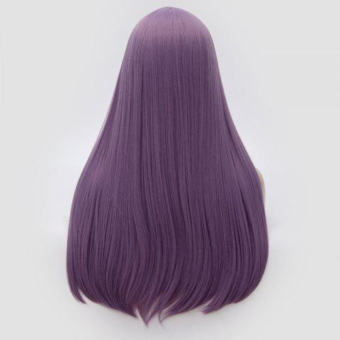 Trendy Long Middle Part Tail Adduction Straight Cosplay Anime Wig - PURPLE  Mobile