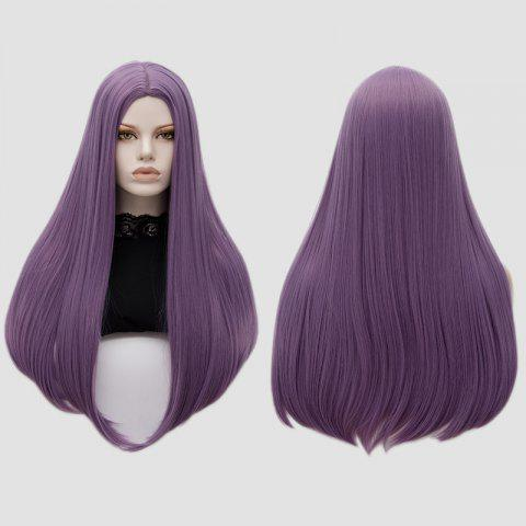Longue partie moyenne Partie Adduction Straight Cosplay Anime Wig Pourpre