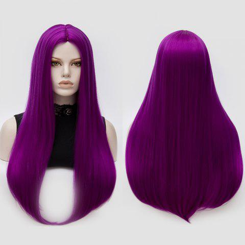 Longue partie moyenne Partie Adduction Straight Cosplay Anime Wig Pourpre Clair
