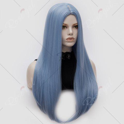 Cheap Long Middle Part Tail Adduction Straight Cosplay Anime Wig - WINDSOR BLUE  Mobile