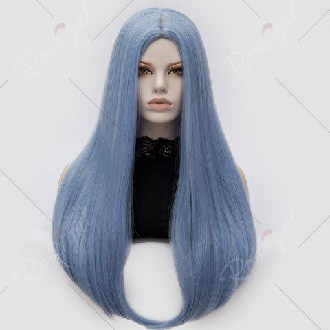 Trendy Long Middle Part Tail Adduction Straight Cosplay Anime Wig - WINDSOR BLUE  Mobile